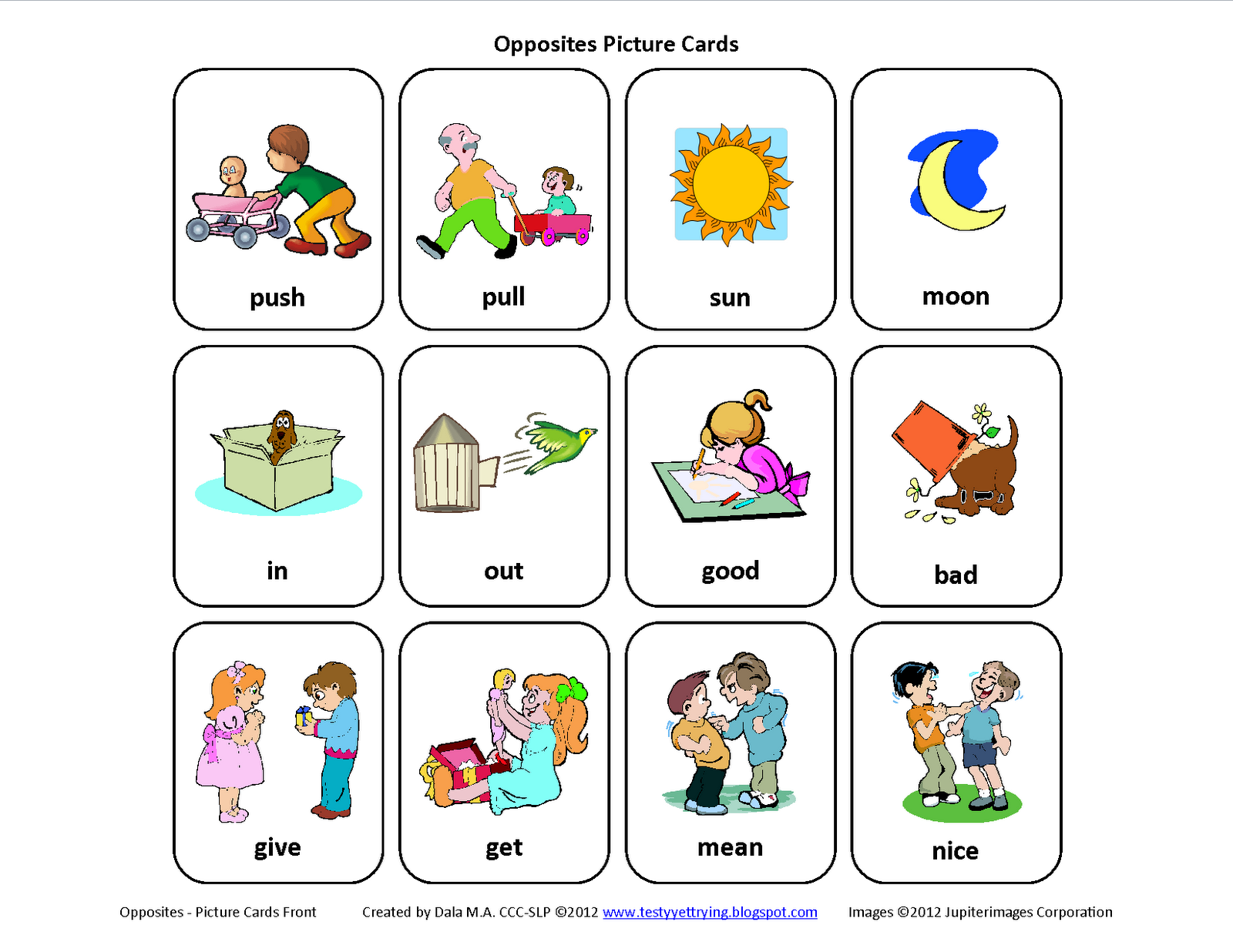 Free Mini Set Of Opposites Picture Cards