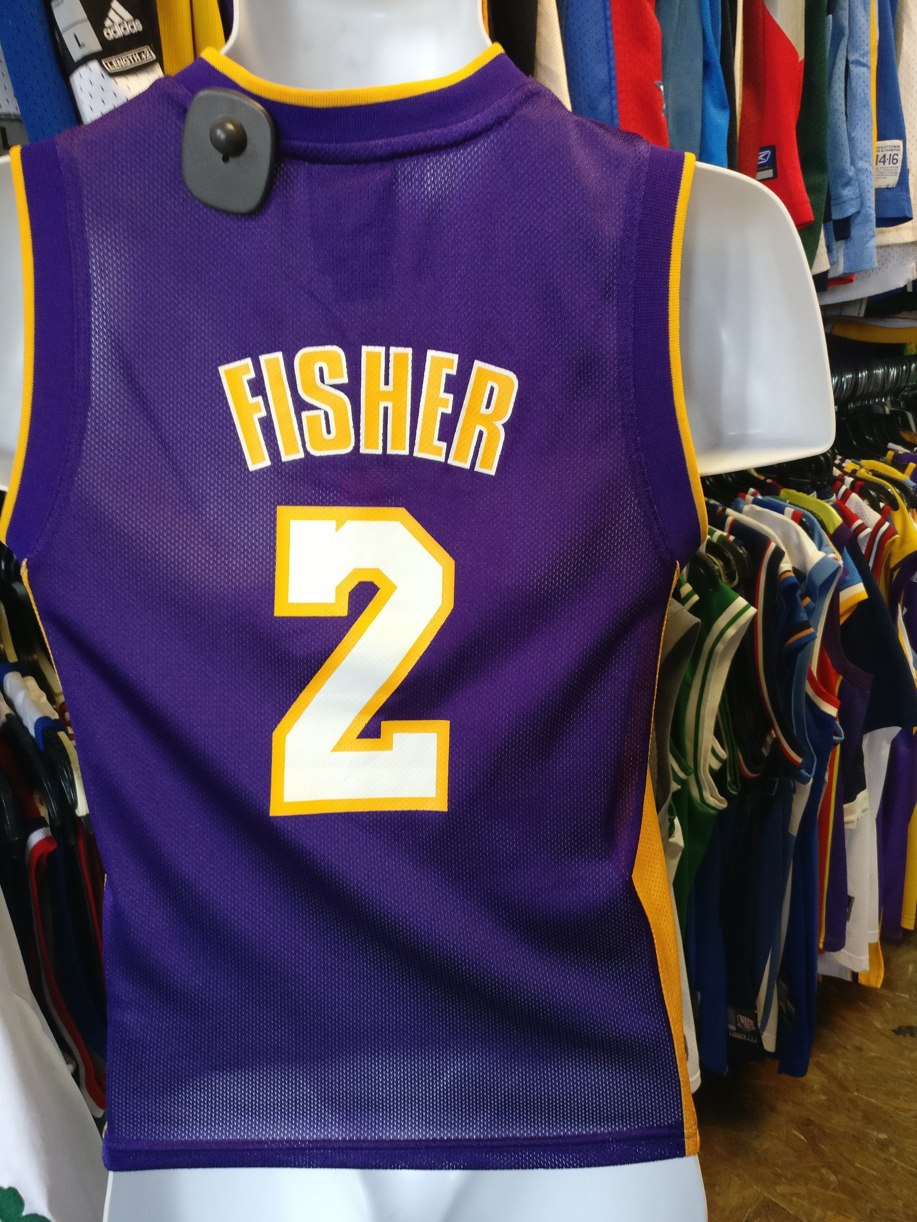 cb418739469c ... Champion Patch NBA Jersey Vintage 2 DEREK FISHER Los Angeles Lakers NBA  Adidas Jersey YS ...