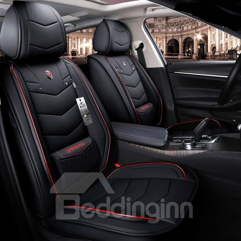 Non Fading Dustproof And Wear Resistant Leather Material Pure Color With Bright Lines Design Universal Truc Truck Seat Covers Car Seats Leather Car Seat Covers
