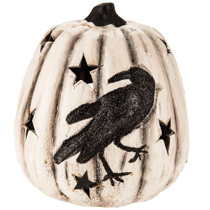 Pumpkin Candle Holder with Crow Holidays Pinterest Pumpkin - hobby lobby halloween decorations