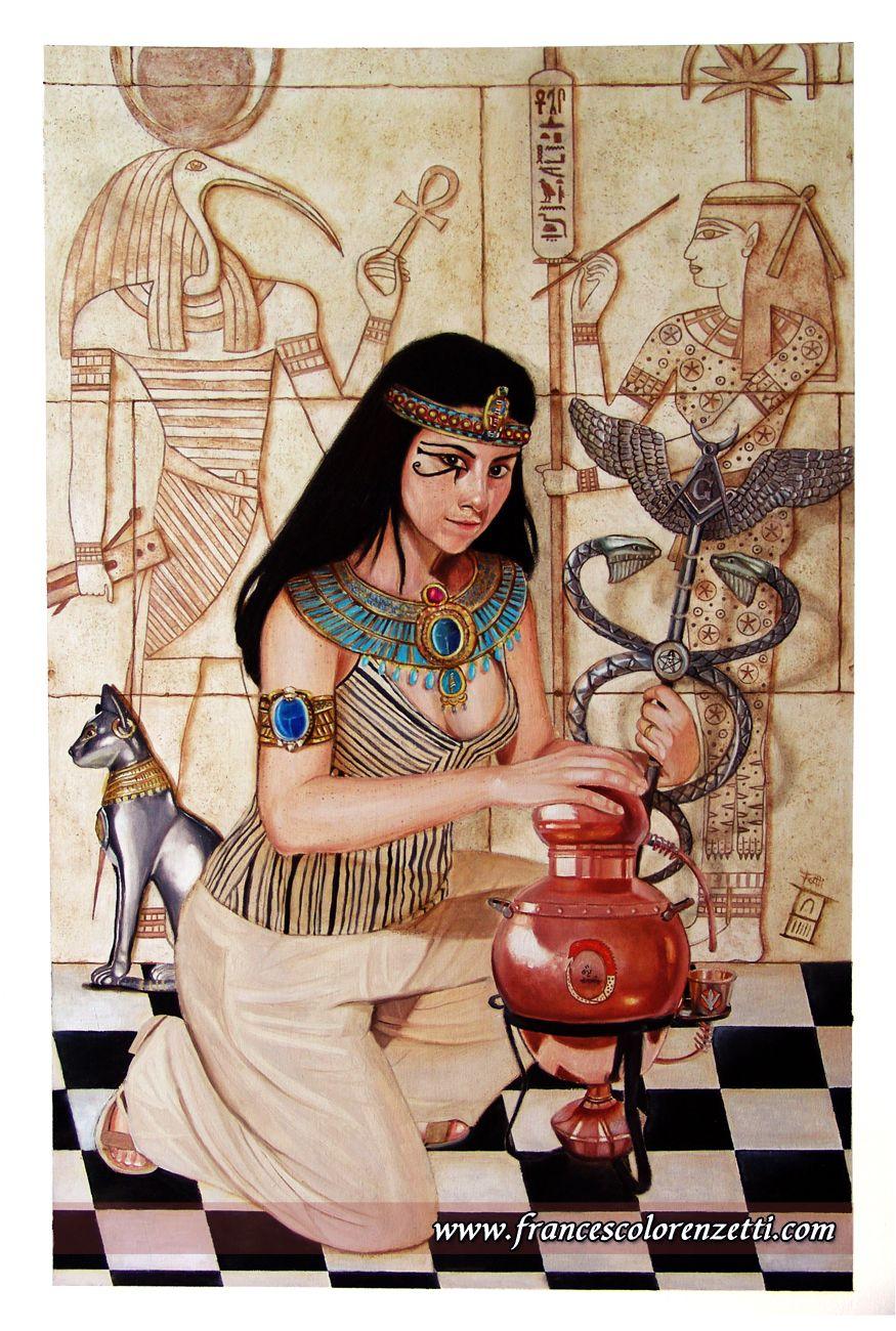 My Portrait (Arthea) in ancient Egypt style (as an Alchemist and Freemason Woman) by the Portrait Artist Francesco Lorenzetti - http://www.francescolorenzetti.com
