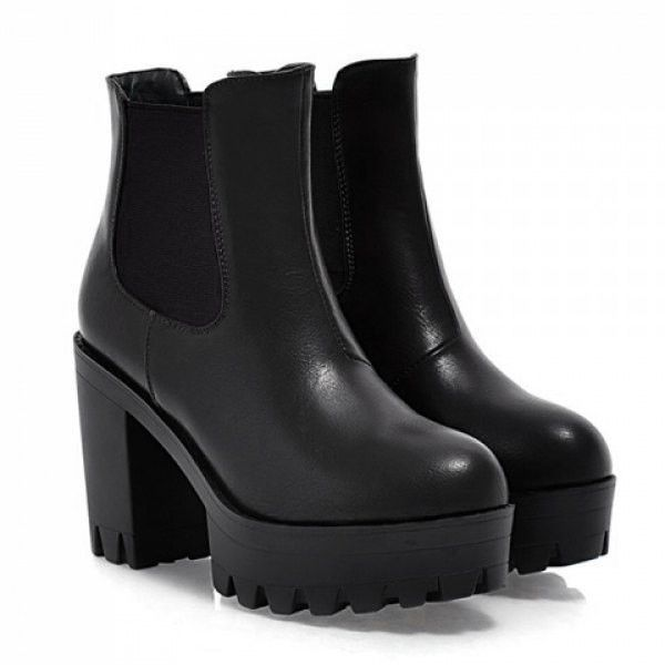 Black vegan leather boots with round