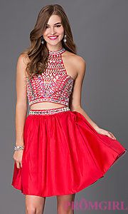 Buy Two Piece Short Red Dress 6053 with Jeweled Bodice at PromGirl