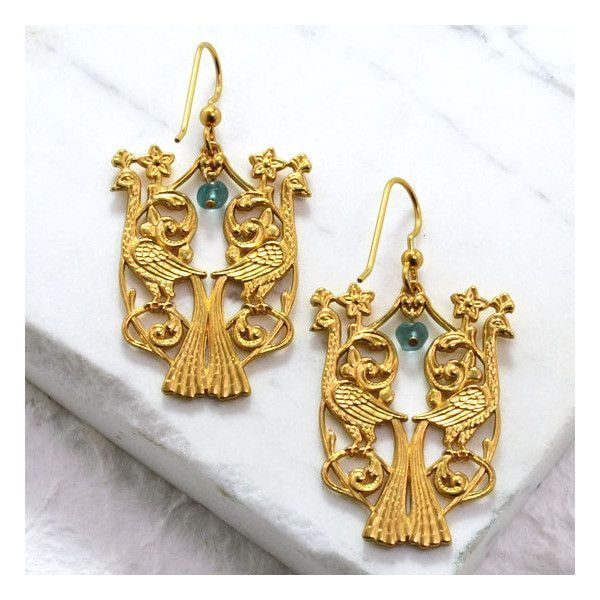 Birds of Paradise Earring Set 10kt Gold liked on Polyvore