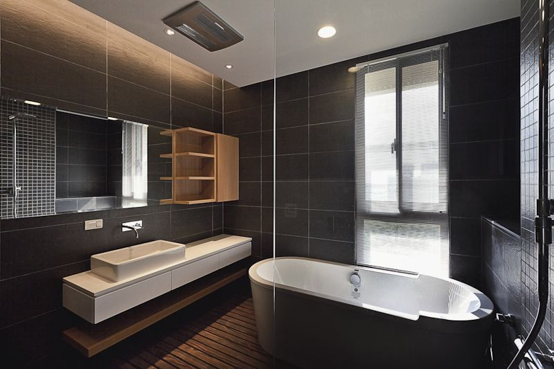 It S All About The Monochrome Tiles And Beautiful Dark Blue Panelled Wood Bathroom Interior Design Blue Bathroom Tile Bathroom Interior