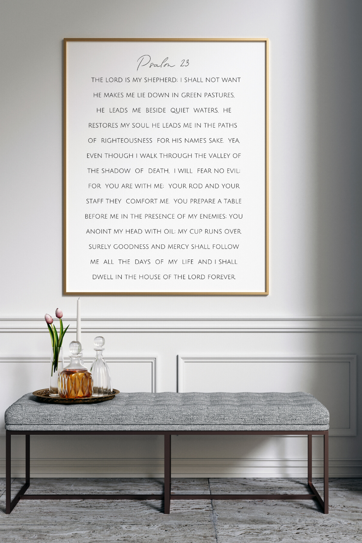 Psalm 23 Print   Printable Bible Verse Art Print  