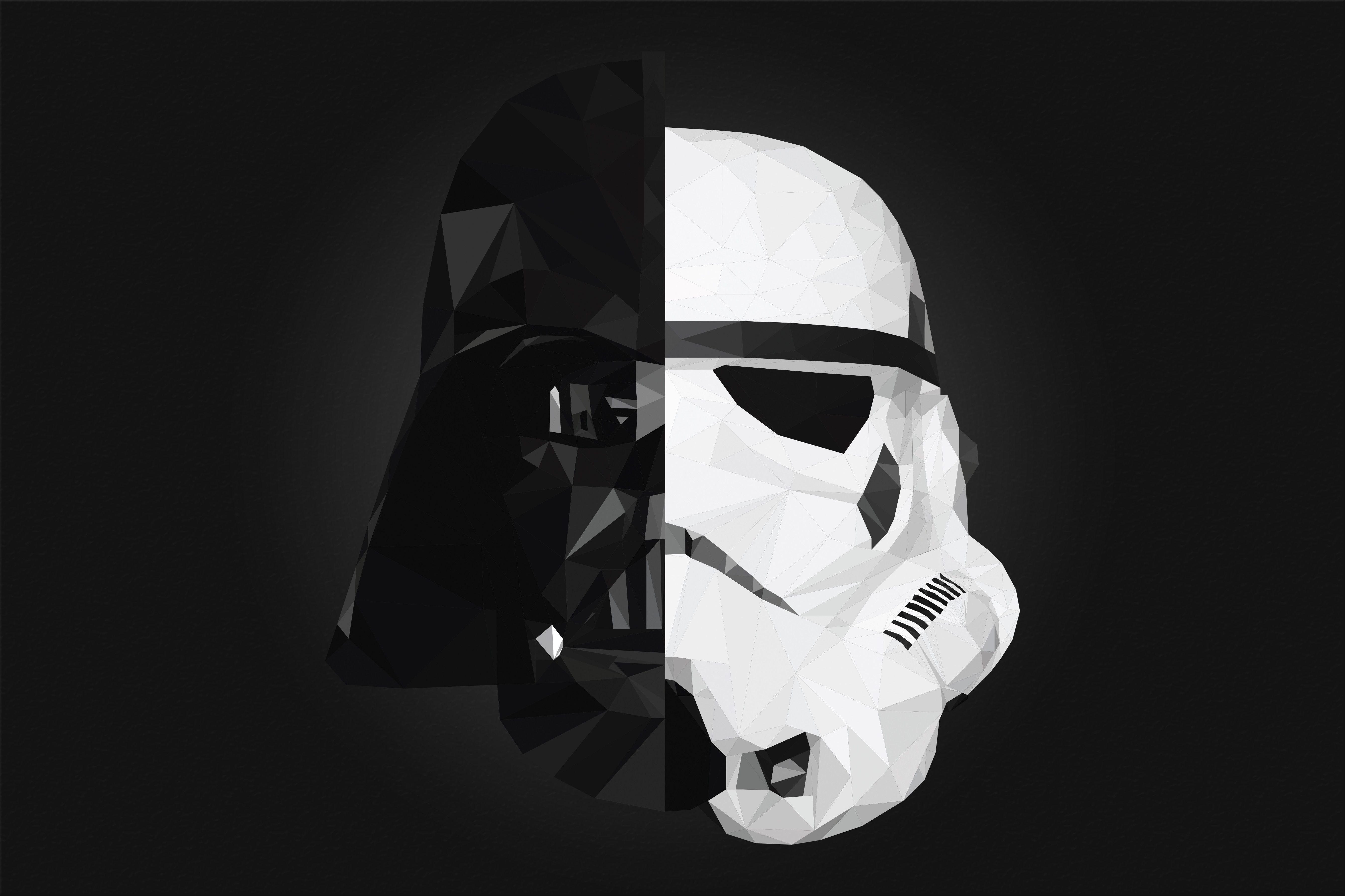 Darth Vader Stormtrooper Star Wars Low Poly Splitting Wallpaper No 1811 Star Wars Characters Wallpaper Dual Monitor Wallpaper Darth Vader Wallpaper