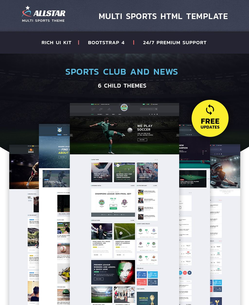Allstar Sport Multipurpose Bootstrap 4 Website Template Website Multipurpose Sport Allstar