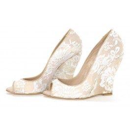 Nude Lace Wedding Wedges Peep Toe Bridal Heels Pumps