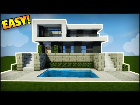 Minecraft How To Build A Modern House Easy Tutorial How To Build A Simple House In Minecraft Mi Easy Minecraft Houses Minecraft Modern Minecraft Mansion
