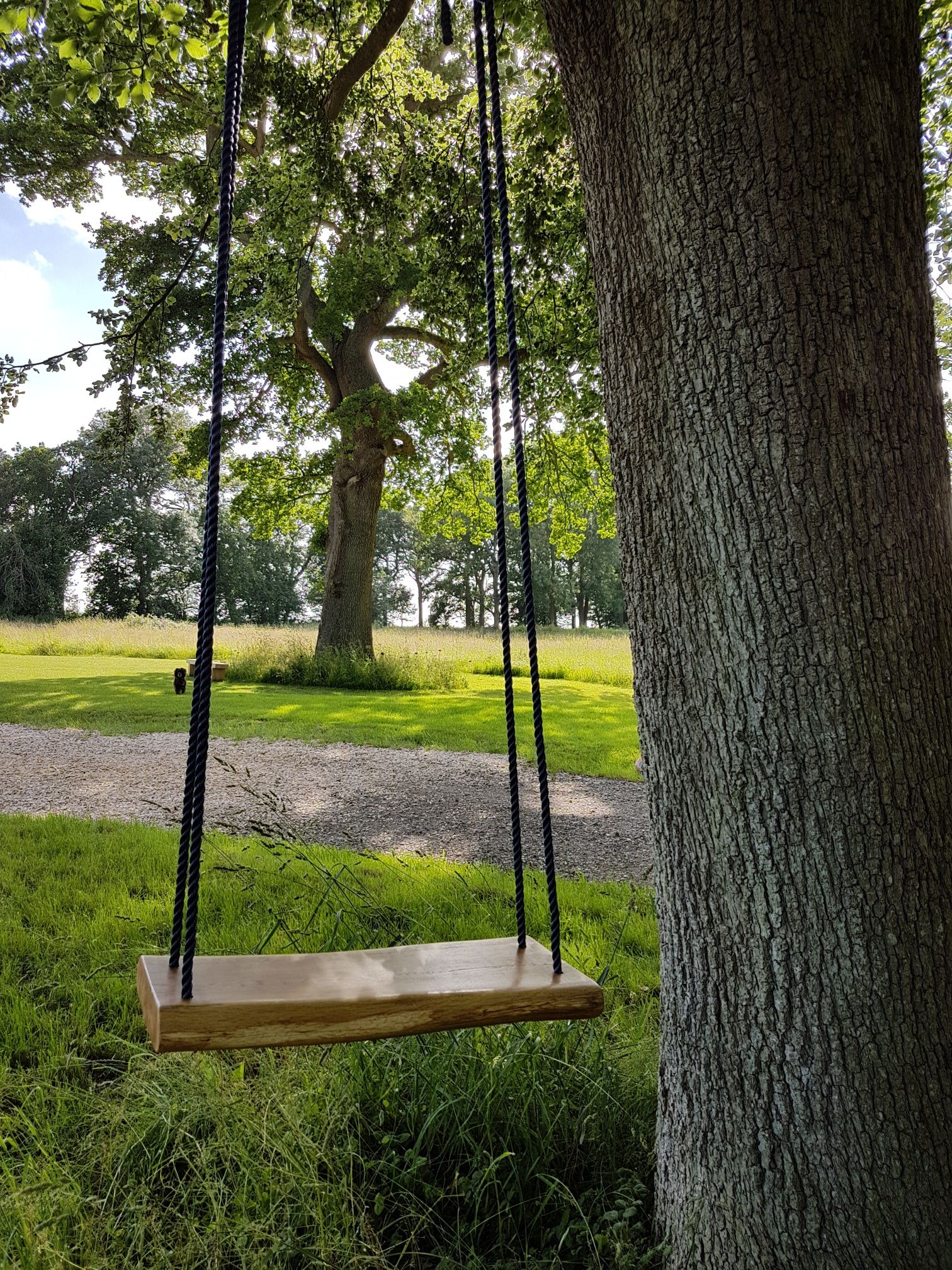 Handmade Swing Seat Using Natural Shaped Oak And Coloured Ropes
