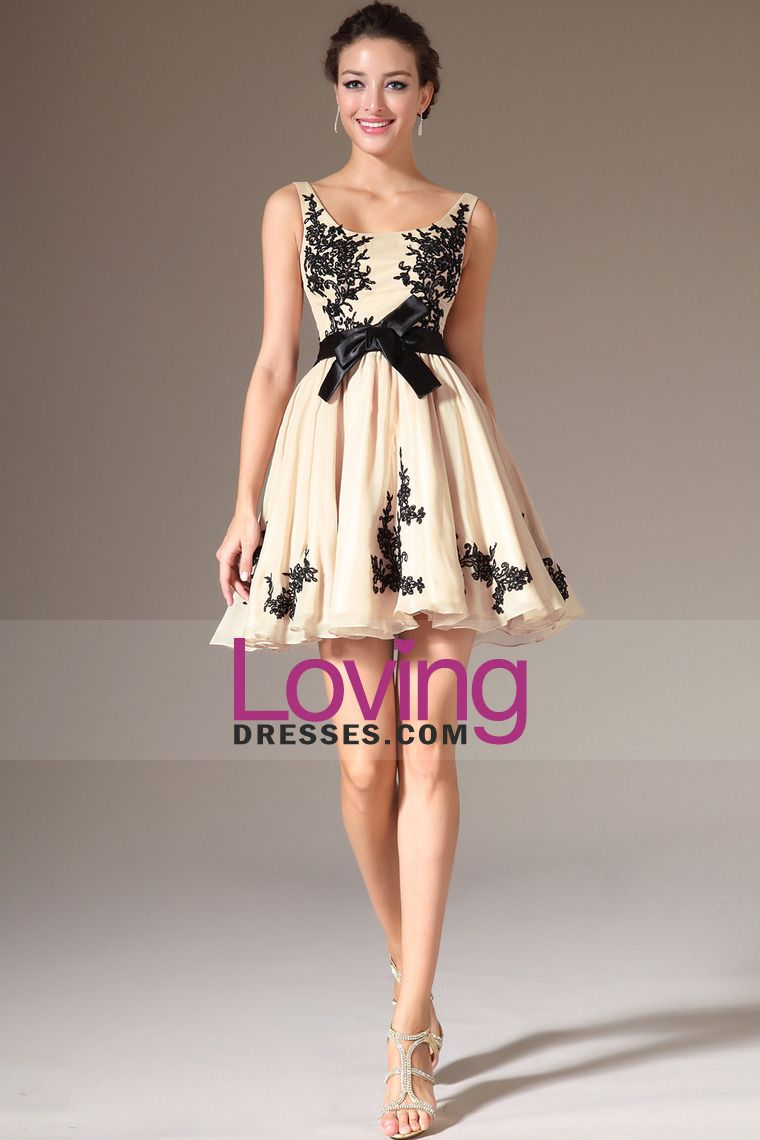 2014 Straps A Line Chiffon Prom Dress Short/Mini With Black Applique And Sash