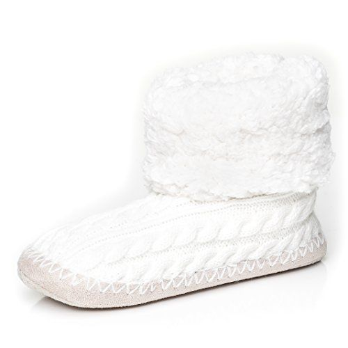 59a26c8d858e Womens Fuzzy Delight Cable Knit Indoor Short Boot Slippers - Ivory - Large Noble  Mount http   www.amazon.com dp B00N4CBGMC ref cm sw r pi dp 7T1Nub1AYVJTN