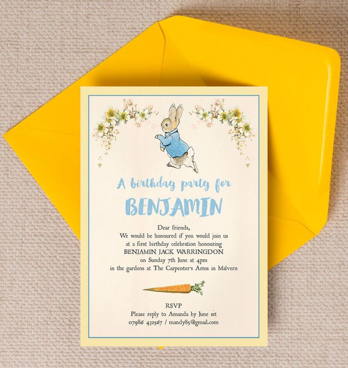 Beatrix Potter Peter Rabbit Party Invitation – Childrens Birthday Party Invitations