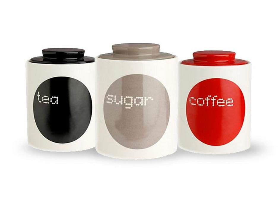 Kitchen Modern Combination Picture Tea Sugar Coffee Jars Black Brown Red Color In Every Look So Nice The Funny Of Jar Based