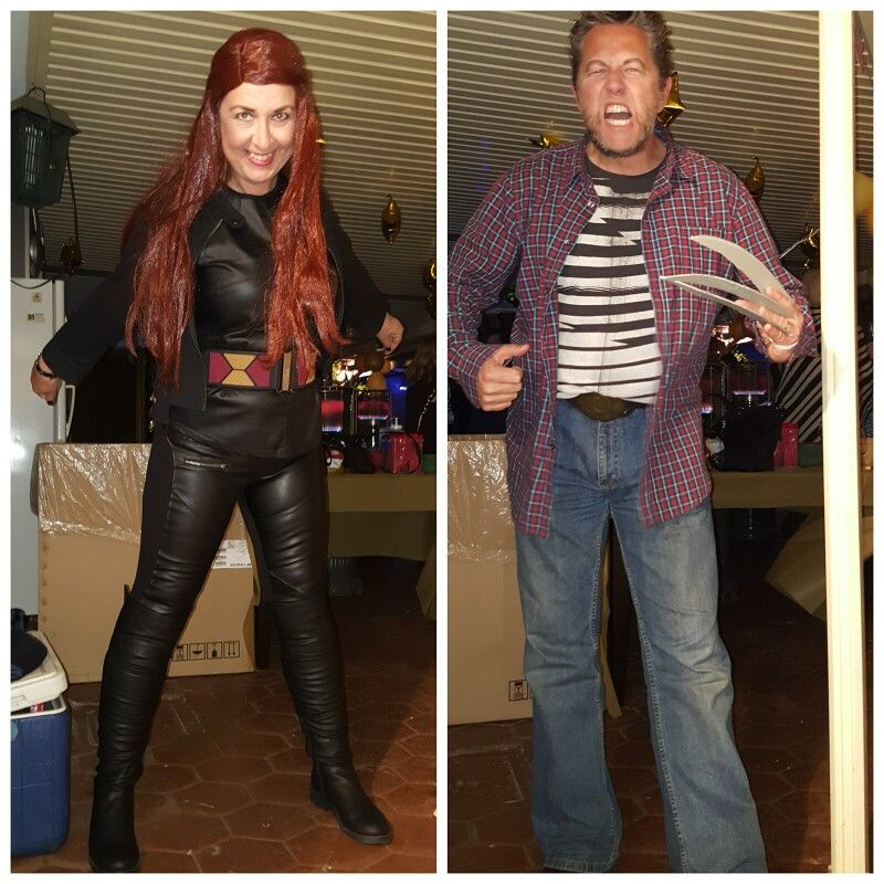 Quick and cheap wolverine and Jean grey costumes. Except for the wig didn't buy anything, all straight from our wardrobe.