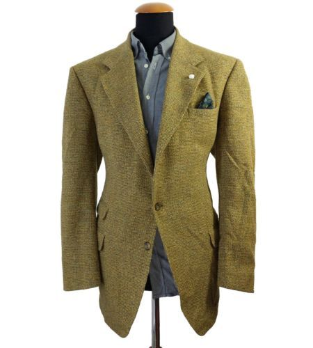 Mens Austin Reed Tweed Wool Blazer 44r Mustard Woven Sport Jacket Yellow Hopsack Wool Blazer Sports Jacket Austin Reed
