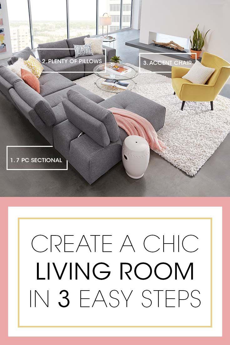 Terrific Laney Park Dark Gray 7 Pc Sectional Chic Living Room Uwap Interior Chair Design Uwaporg