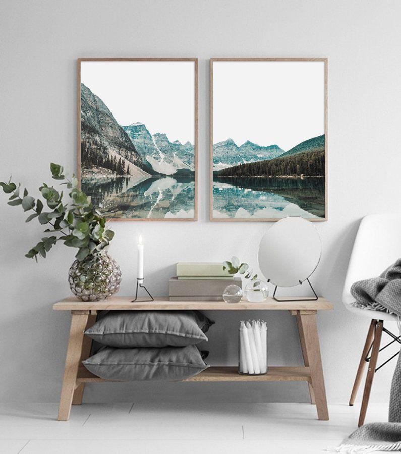 Photo of Berg-See-Druck, moderne Wandkunst, Landschaft Set Druck, Berg Set Druck, druckbare Wandkunst, Natur Set Druck, Landschaft Wandkunst, Wand-Dekor