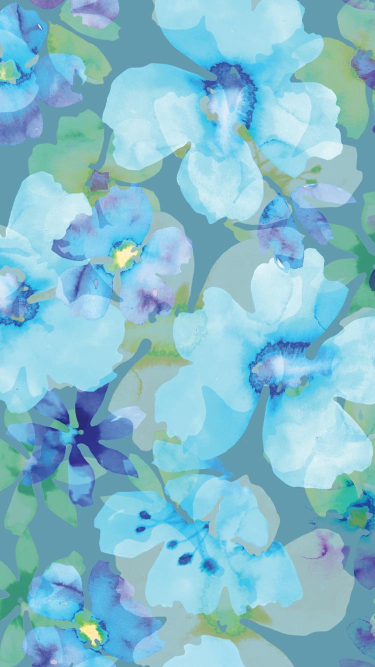 Blue Aqua Petal Flower Lilac Pattern Floral Wallpaper