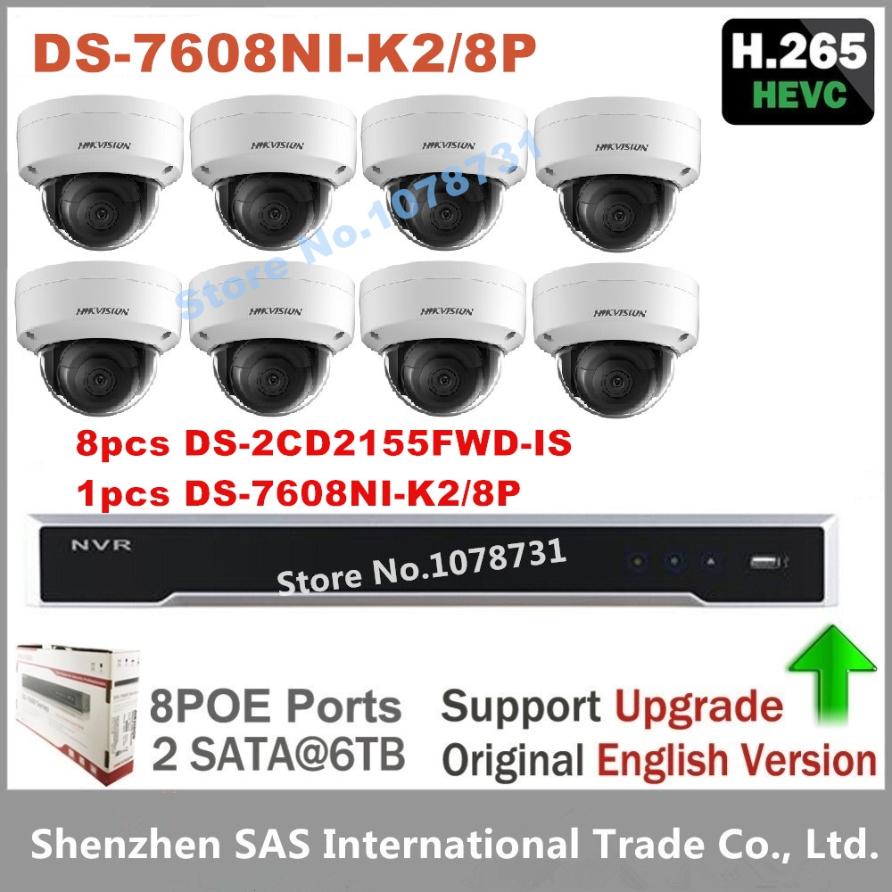 1718.50$  Watch now - http://alicux.shopchina.info/1/go.php?t=32806921187 - Hikvision Video Surveillance DS-7608NI-K2/8P Embedded Plug & Play 4K NVR 2SATA + 8pcs Hikvision H.265 IP Camera DS-2CD2155FWD-IS  #aliexpresschina