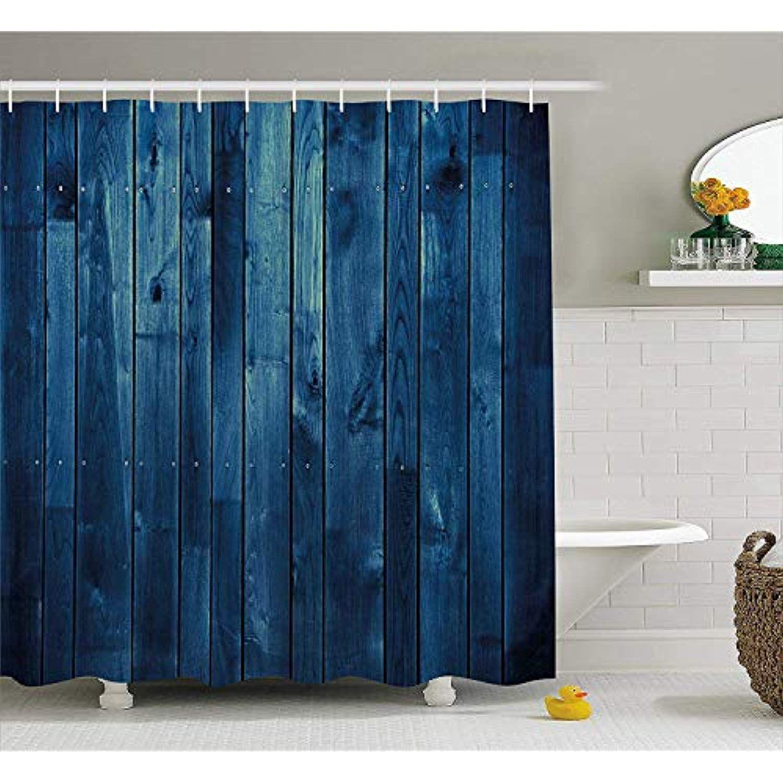 Goloingm Dark Blue Shower Curtain Wooden Planks Texture Image