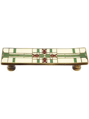 Prairie Tulips Drawer Pull With Enamel Inlay 3 Center To Center