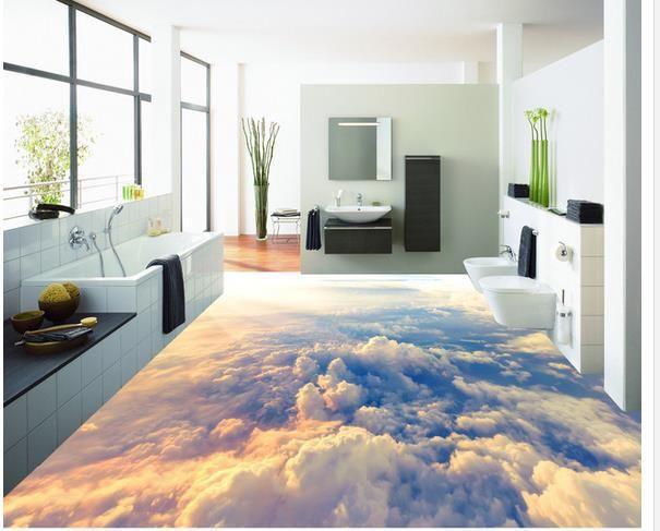 3d Pvc Fußboden ~ Benutzerdefinierte foto boden tapete d stereoskopische wolken
