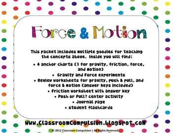 force motion pack worksheets centers experiments anchor charts tpt product. Black Bedroom Furniture Sets. Home Design Ideas