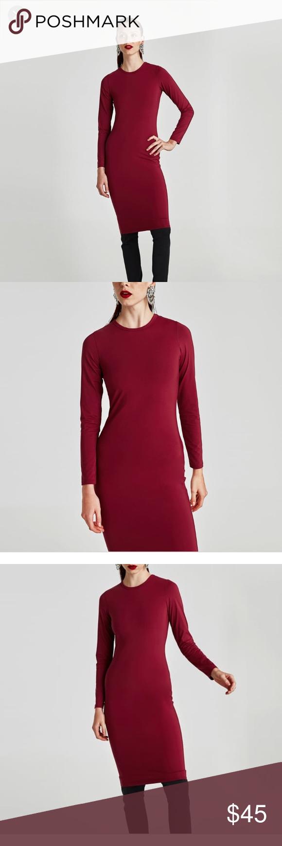Zara polyamide long sleeve dress in red s nwt nwt my posh picks
