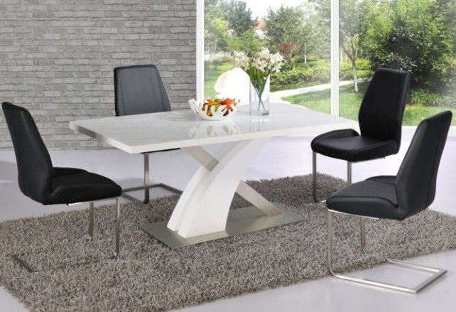 Avici Y Shaped High Gloss White Dining Table And 6 Chairs Mesas