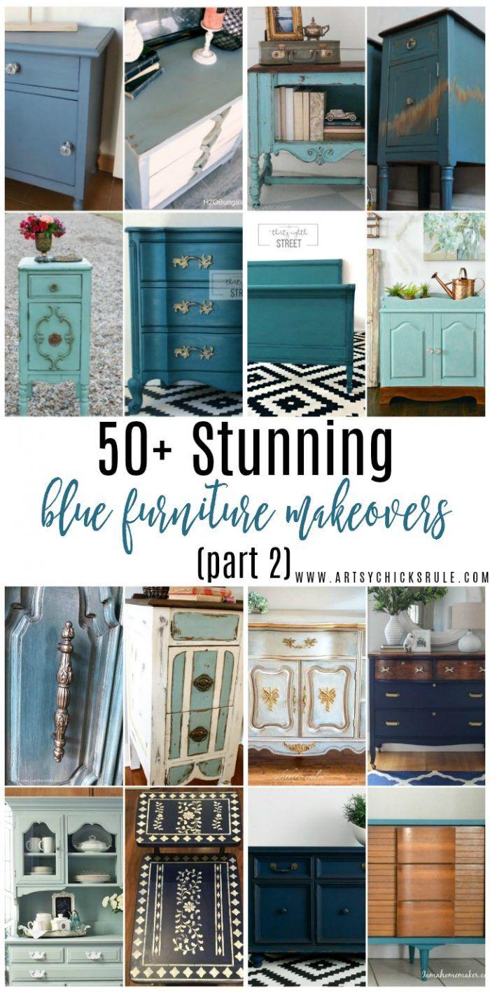 Love a pretty blue furniture makeover? I've got 50+ for ya!! Enjoy!