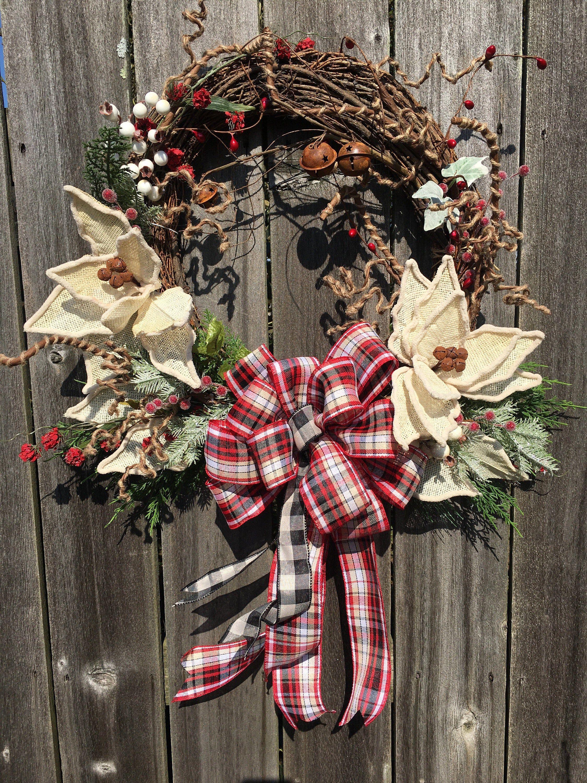 Rustic Bell Christmas Wreath, Christmas Poinsettia Rustic