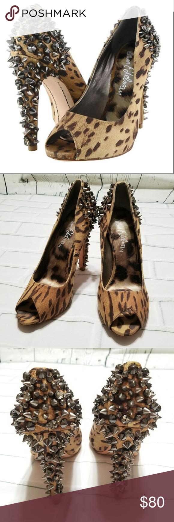 9260c61608d SAM EDELMAN Lorissa animal print spike heels Leopard Lorissa Canvas Jeweled  Sam Edelman Platform Pumps.