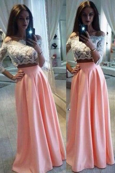 Off shoulder prom dress, two pieces prom dress, cute whhite lace ...
