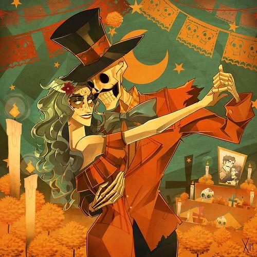 """Feliz tarde día de los muertos hoho """"Fausto y Catrina se reúnen una vez al año para bailar nuevamente"""""""