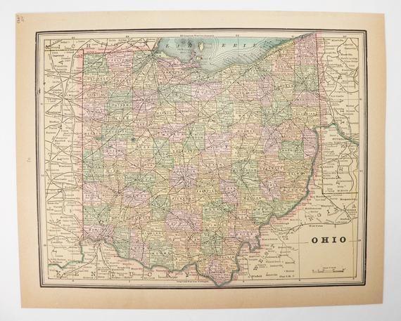 1893 Map Of Cincinnati Ohio Vintage Ohio Map By Cram Antique Us