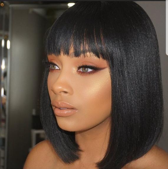 Cleopatra Straight Bob Wig With Bangs Virgin Human Hair Wigs