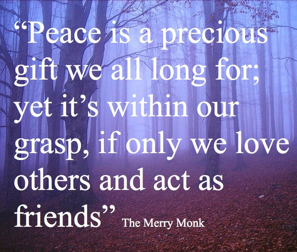 "Inspirational Quotes About Friendships Peace And Friendship Quote Gerry Mccann ""the Merry Monk""  Quotes"