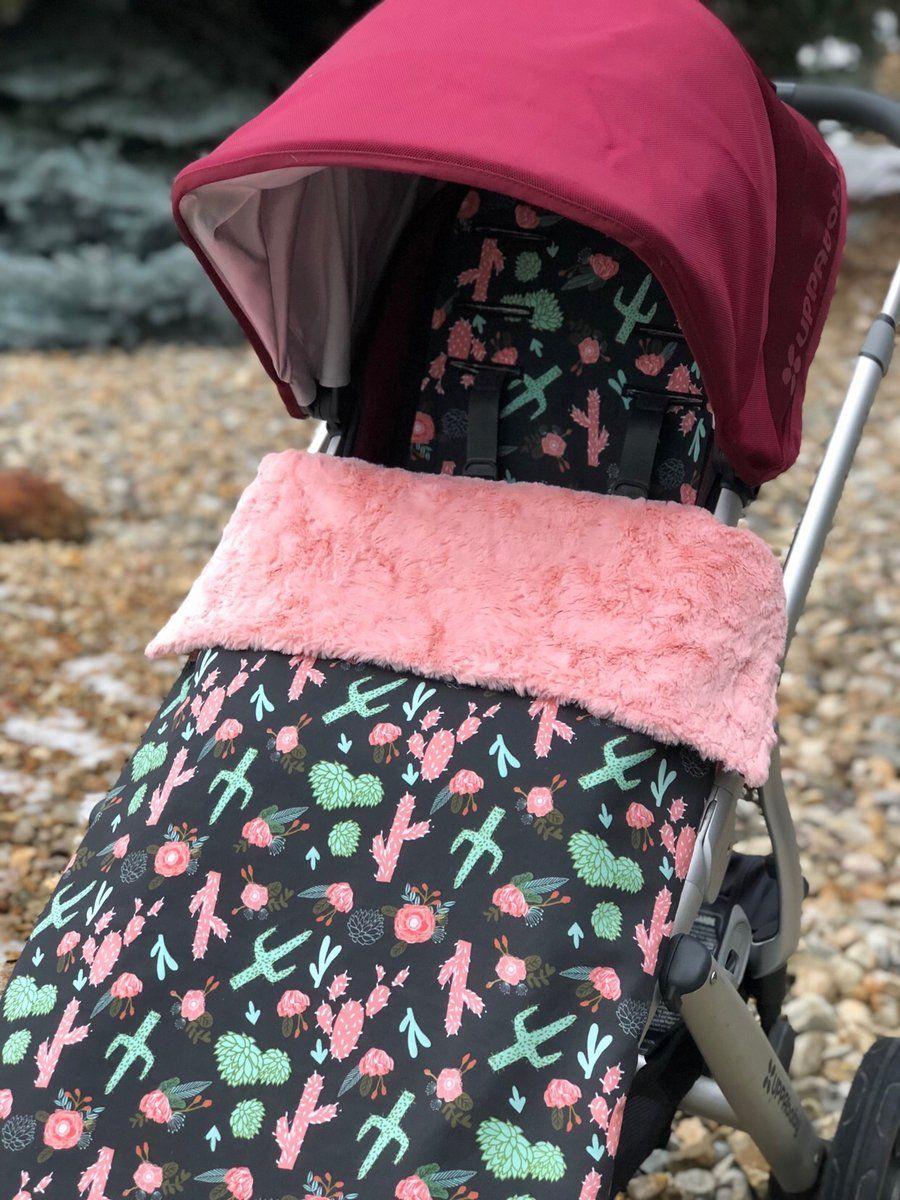 Cactus stroller liner ,strap pads and footmuff blanket