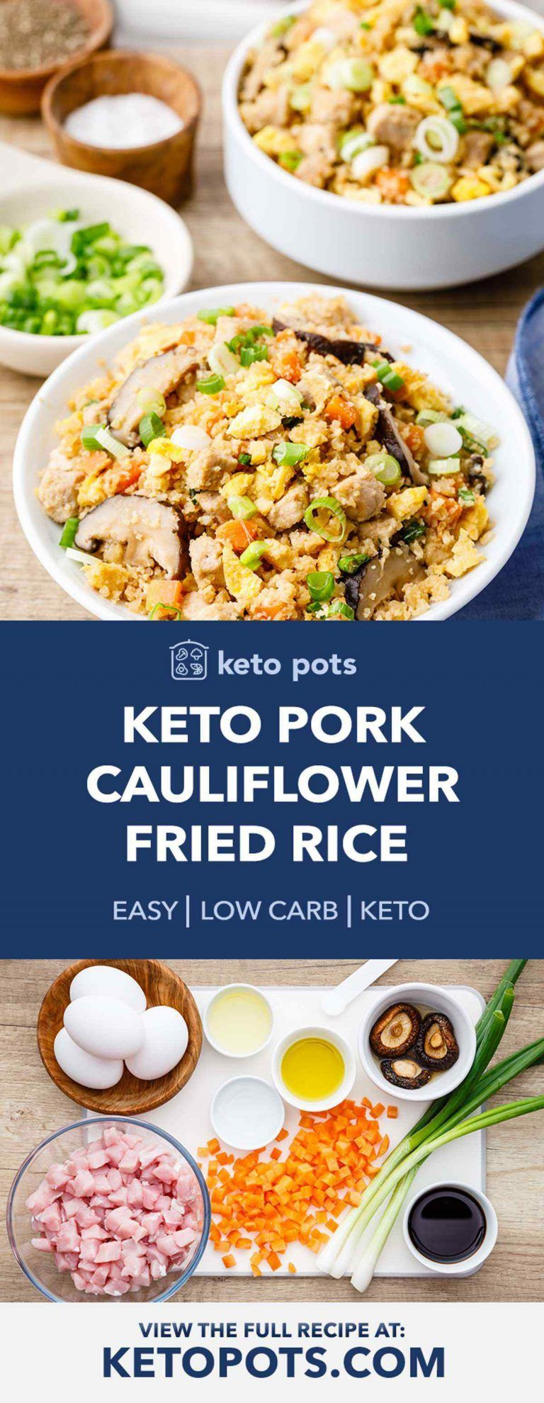 Addictive Keto Pork Cauliflower Fried Rice (YUM) - Keto Pots #cauliflowerfriedrice