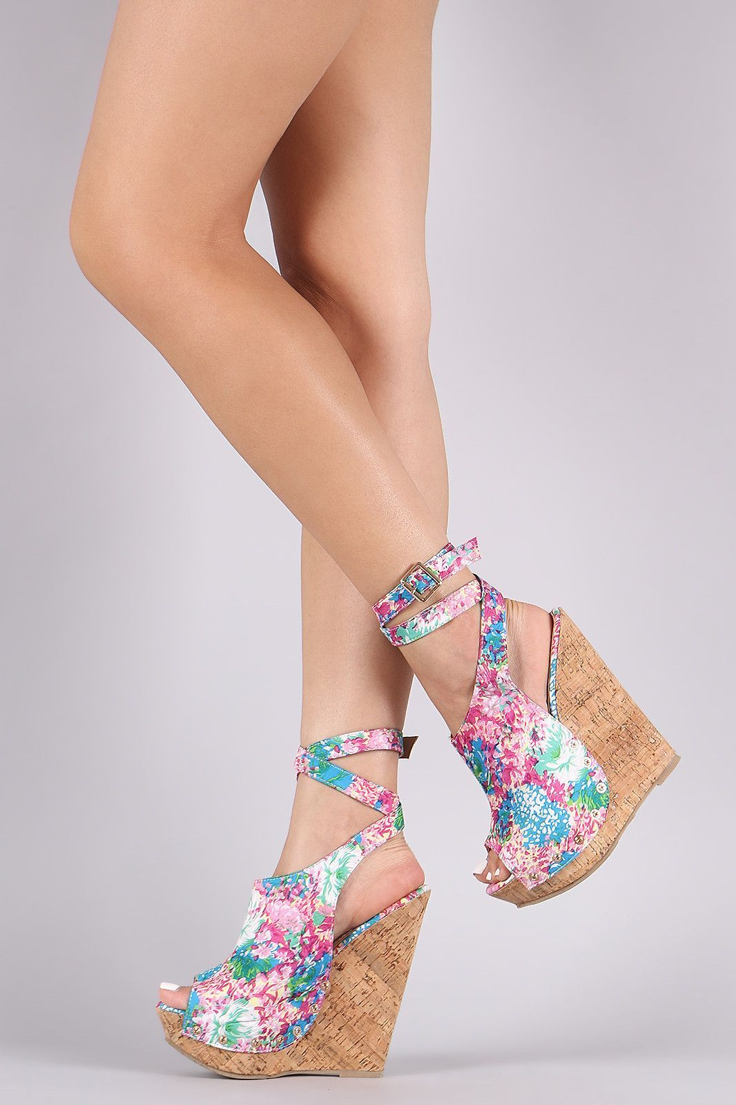9be762a39 Floral Ankle Strap Studded Cork Platform Wedge. Floral Ankle Strap Studded  Cork Platform Wedge Wedge Shoes