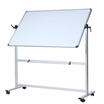 VIZ PRO Double Sided Magnetic Revolving Mobile Whiteboard Aluminium Frame & Stand Simple Elegant - portable whiteboard Contemporary
