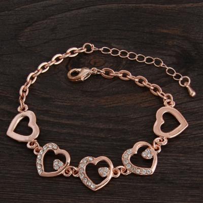18K Rose Gold Plated Heart Chain Bracelet