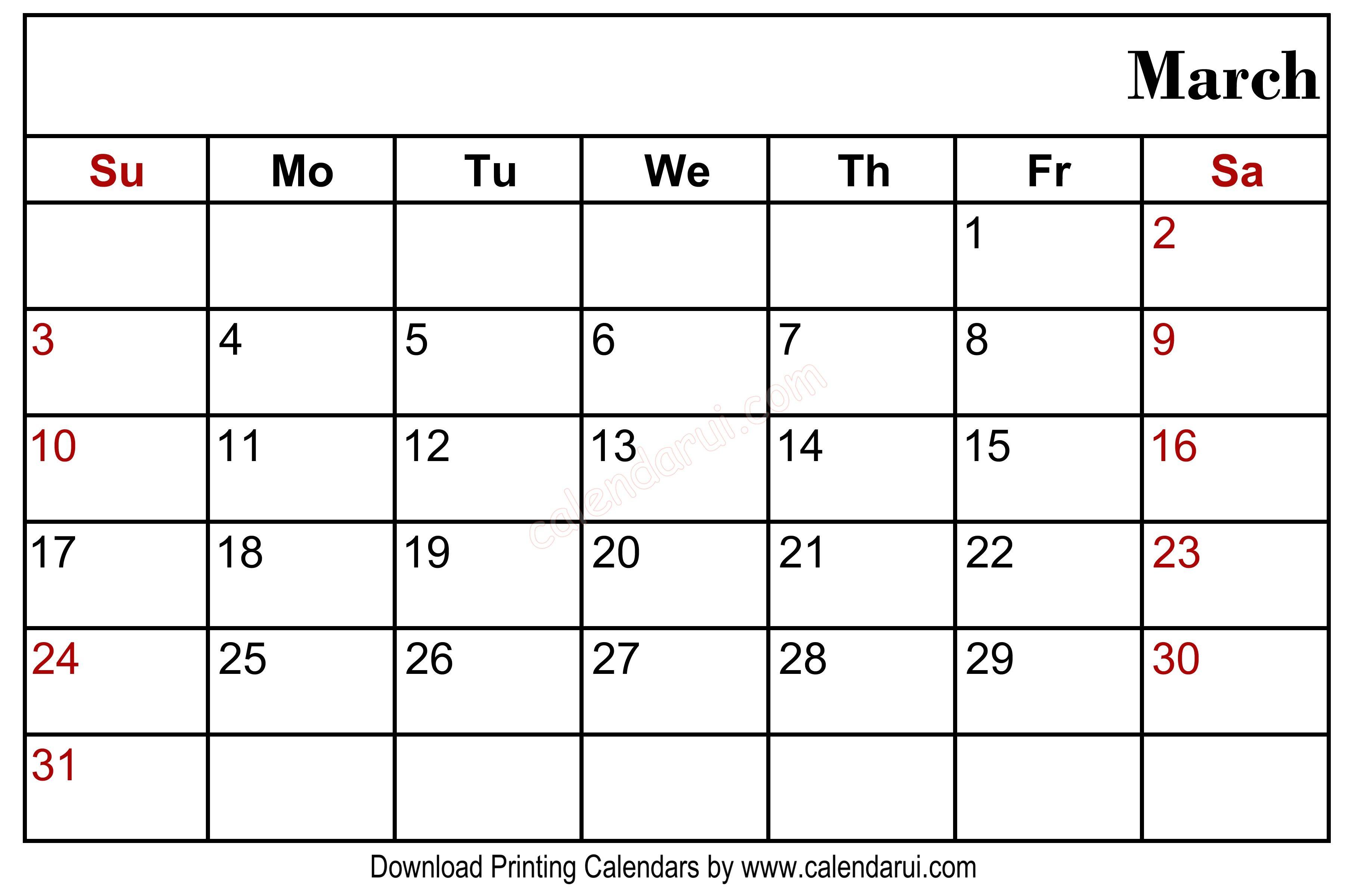 March 2020 Blank Calendar Printable Blank Calendar Template