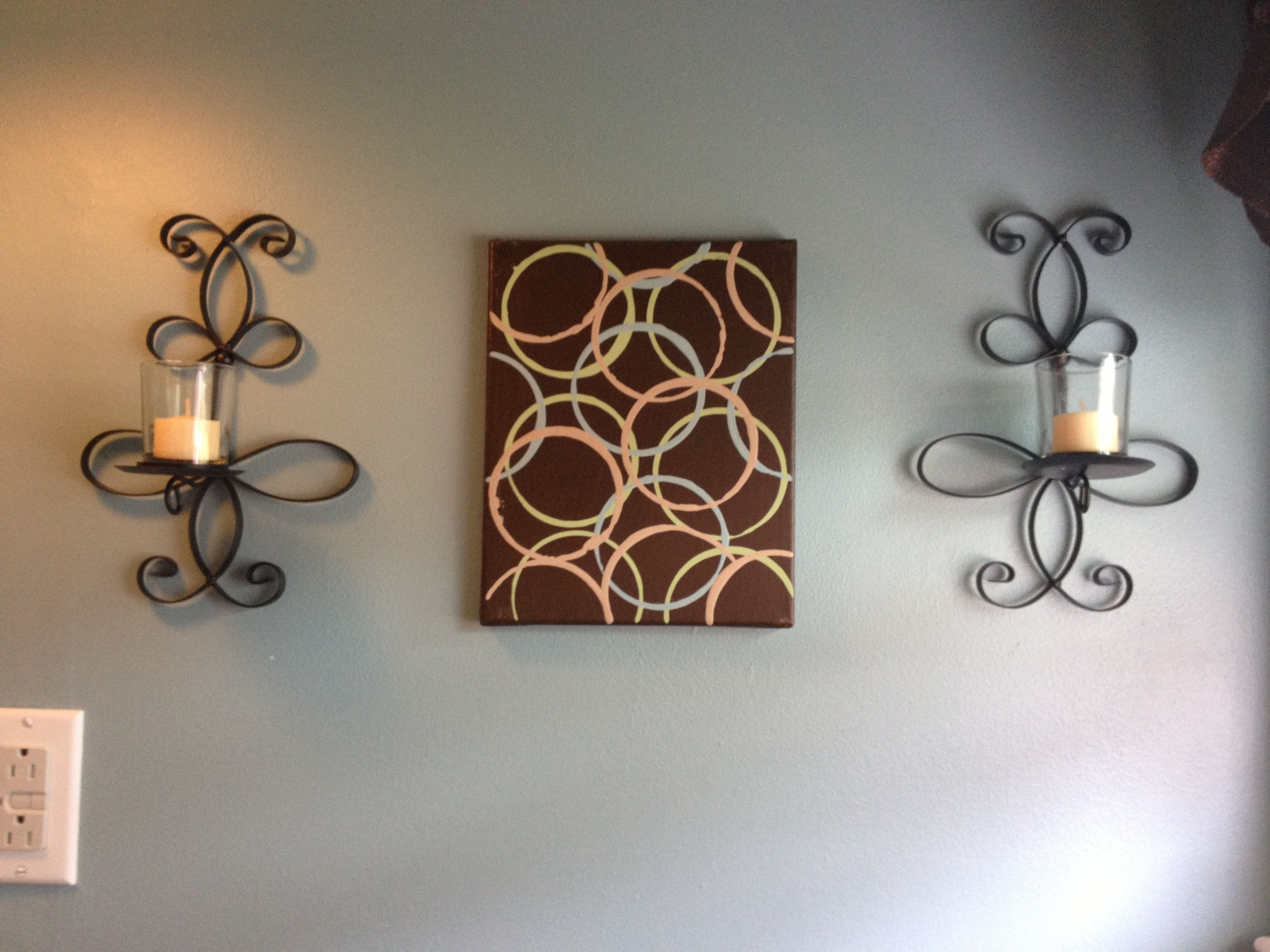 DIY canvas art in the bathroom. $3.00 canvas from Wal mart. I ...