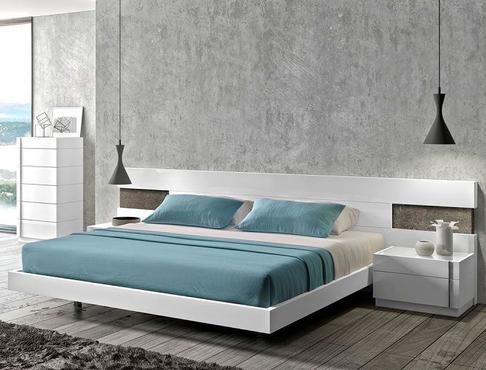 modern platform bed. Bedroom : White Platform Bed With Floating Nighstand Style And Industrial Pendant Light Turquoise Modern