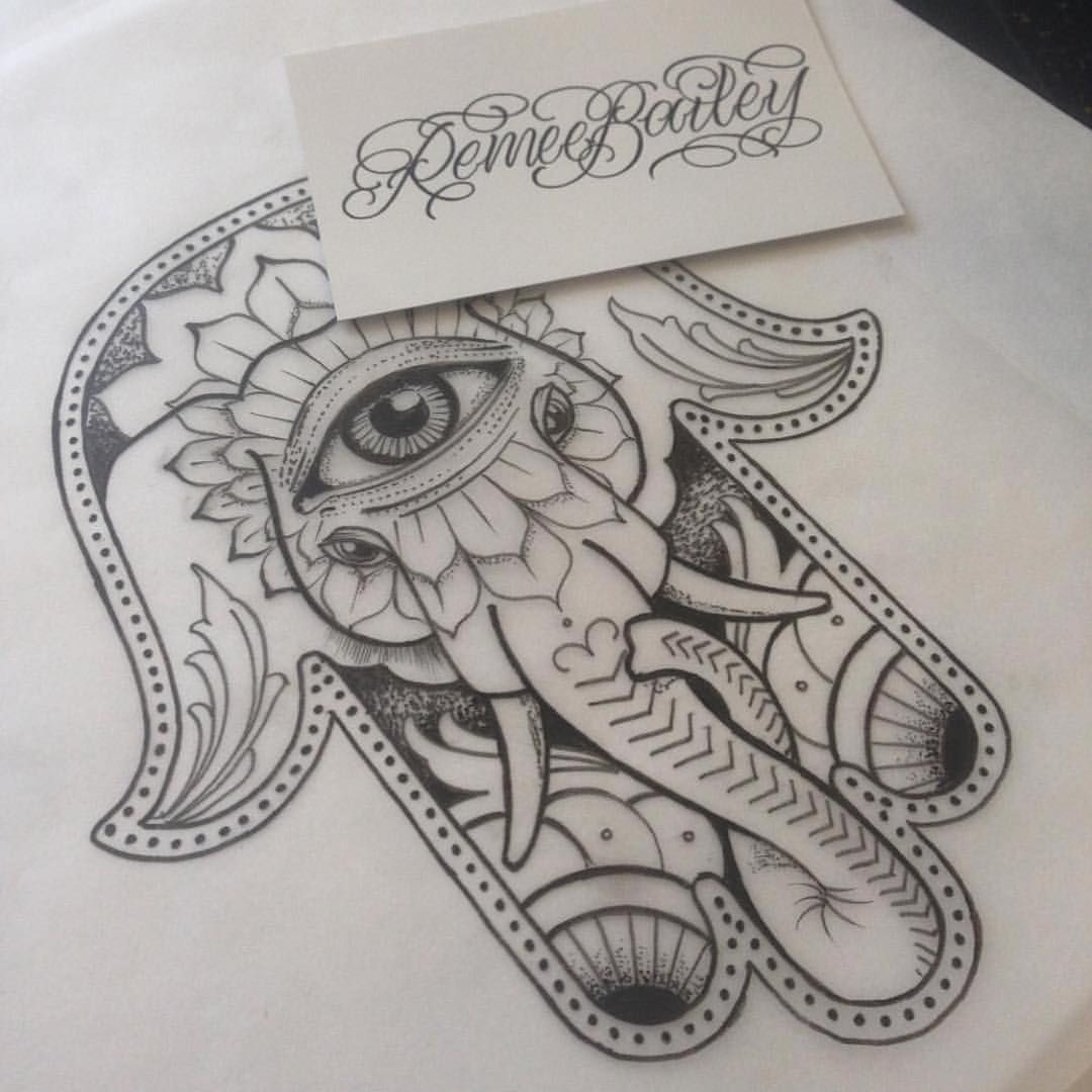 Pin by autumn lumley on tattoo ideas pinterest hamsa for Hamsa elephant tattoo