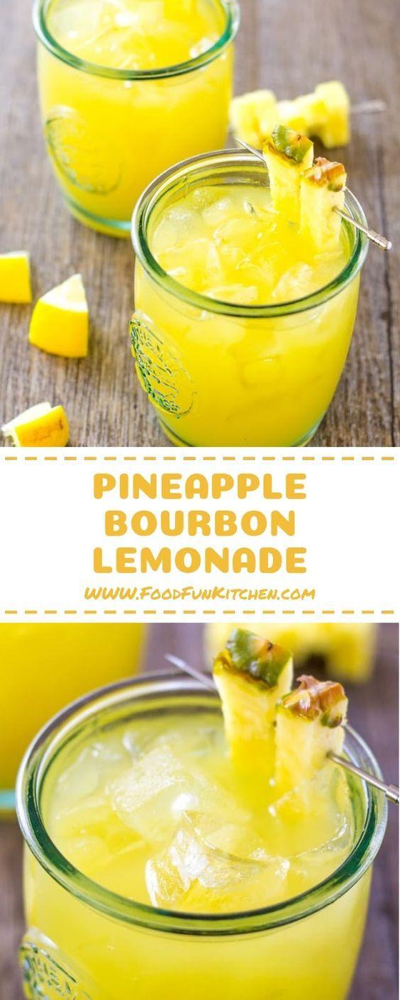 Pineapple Bourbon Lemonade – 3 ingredient Tropical Cocktail #cocktaildrinks
