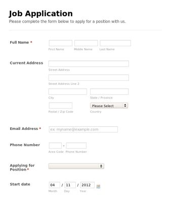 simple-job-application-form Front-end Development Pinterest - basic application form
